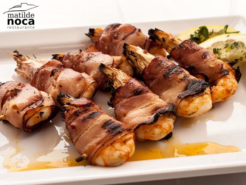 camarão frito com Bacon